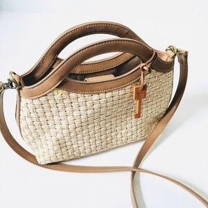 Fossil   Woven & Leather Raffia Tan Shoulder Bag